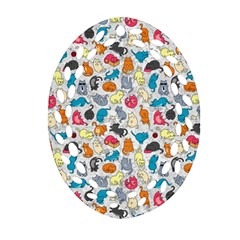 Funny Cute Colorful Cats Pattern Oval Filigree Ornament (two Sides)