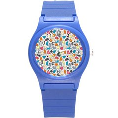 Funny Cute Colorful Cats Pattern Round Plastic Sport Watch (s) by EDDArt