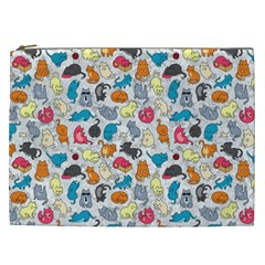 Funny Cute Colorful Cats Pattern Cosmetic Bag (xxl)