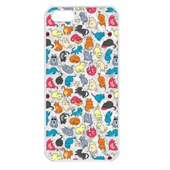 Funny Cute Colorful Cats Pattern Apple Iphone 5 Seamless Case (white) by EDDArt
