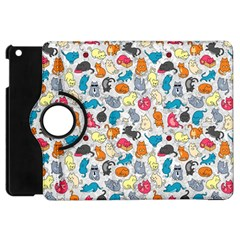Funny Cute Colorful Cats Pattern Apple Ipad Mini Flip 360 Case