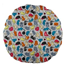 Funny Cute Colorful Cats Pattern Large 18  Premium Round Cushions by EDDArt