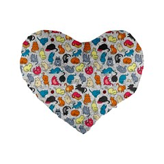 Funny Cute Colorful Cats Pattern Standard 16  Premium Heart Shape Cushions by EDDArt