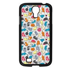 Funny Cute Colorful Cats Pattern Samsung Galaxy S4 I9500/ I9505 Case (black) by EDDArt