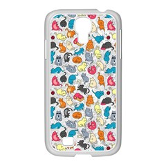 Funny Cute Colorful Cats Pattern Samsung Galaxy S4 I9500/ I9505 Case (white) by EDDArt