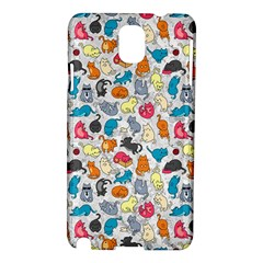 Funny Cute Colorful Cats Pattern Samsung Galaxy Note 3 N9005 Hardshell Case by EDDArt