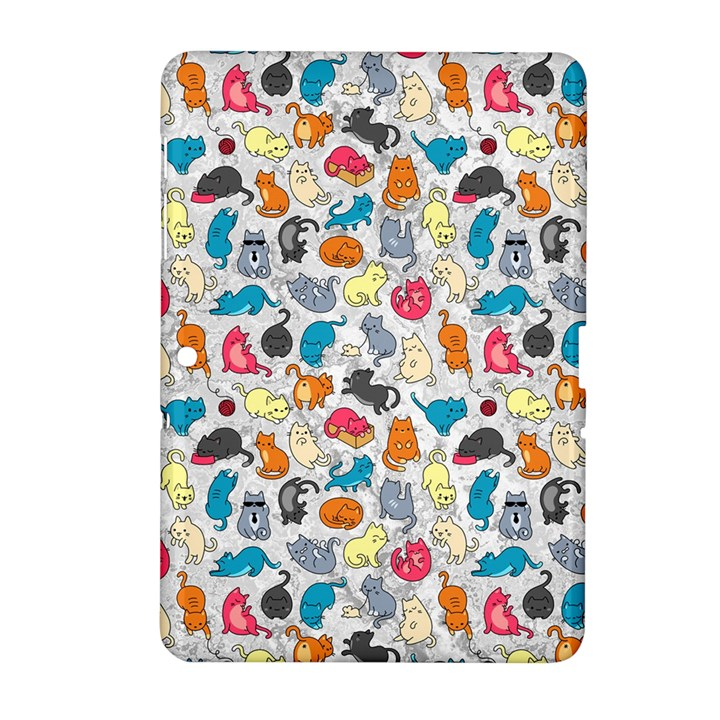 Funny Cute Colorful Cats Pattern Samsung Galaxy Tab 2 (10.1 ) P5100 Hardshell Case
