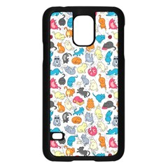 Funny Cute Colorful Cats Pattern Samsung Galaxy S5 Case (black) by EDDArt