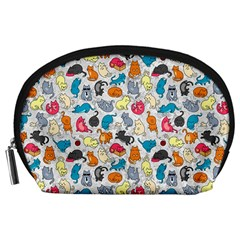 Funny Cute Colorful Cats Pattern Accessory Pouches (large)  by EDDArt