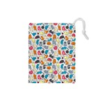 Funny Cute Colorful Cats Pattern Drawstring Pouches (Small)  Front
