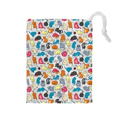 Funny Cute Colorful Cats Pattern Drawstring Pouches (large)