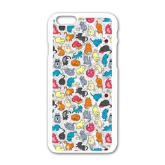 Funny Cute Colorful Cats Pattern Apple Iphone 6/6s White Enamel Case by EDDArt