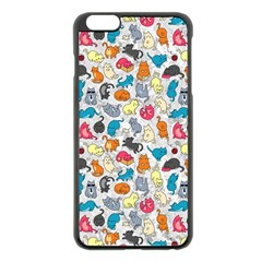 Funny Cute Colorful Cats Pattern Apple Iphone 6 Plus/6s Plus Black Enamel Case by EDDArt