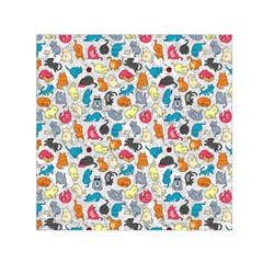 Funny Cute Colorful Cats Pattern Small Satin Scarf (square)