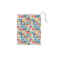 Funny Cute Colorful Cats Pattern Drawstring Pouches (xs)  by EDDArt