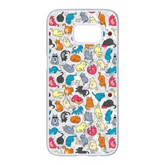Funny Cute Colorful Cats Pattern Samsung Galaxy S7 Edge White Seamless Case by EDDArt