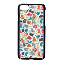 Funny Cute Colorful Cats Pattern Apple Iphone 7 Seamless Case (black) by EDDArt