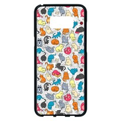 Funny Cute Colorful Cats Pattern Samsung Galaxy S8 Plus Black Seamless Case by EDDArt