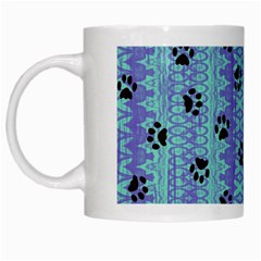 Footprints Cat Black On Batik Pattern Teal Violet White Mugs by EDDArt