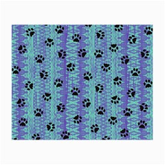 Footprints Cat Black On Batik Pattern Teal Violet Small Glasses Cloth by EDDArt
