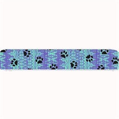 Footprints Cat Black On Batik Pattern Teal Violet Small Bar Mats