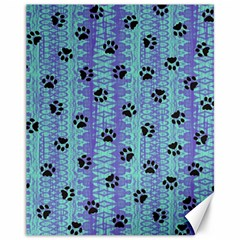 Footprints Cat Black On Batik Pattern Teal Violet Canvas 11  X 14
