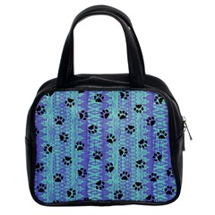 Footprints Cat Black On Batik Pattern Teal Violet Classic Handbags (2 Sides)