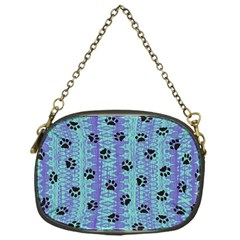 Footprints Cat Black On Batik Pattern Teal Violet Chain Purses (one Side)