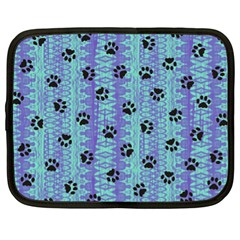 Footprints Cat Black On Batik Pattern Teal Violet Netbook Case (xl)