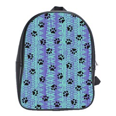 Footprints Cat Black On Batik Pattern Teal Violet School Bag (large)