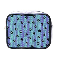 Footprints Cat Black On Batik Pattern Teal Violet Mini Toiletries Bags