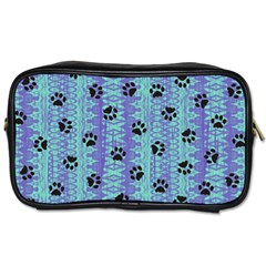 Footprints Cat Black On Batik Pattern Teal Violet Toiletries Bags 2 Side