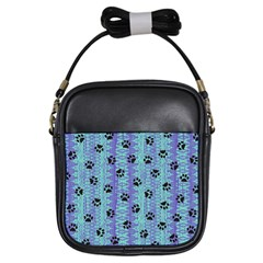 Footprints Cat Black On Batik Pattern Teal Violet Girls Sling Bags