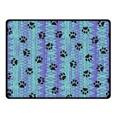 Footprints Cat Black On Batik Pattern Teal Violet Fleece Blanket (small)