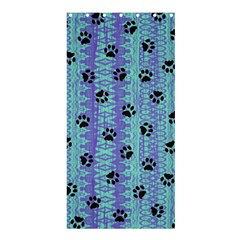 Footprints Cat Black On Batik Pattern Teal Violet Shower Curtain 36  X 72  (stall)