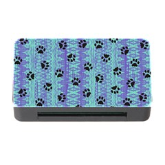 Footprints Cat Black On Batik Pattern Teal Violet Memory Card Reader With Cf