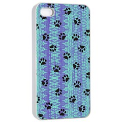 Footprints Cat Black On Batik Pattern Teal Violet Apple Iphone 4/4s Seamless Case (white) by EDDArt