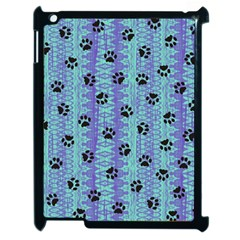 Footprints Cat Black On Batik Pattern Teal Violet Apple Ipad 2 Case (black) by EDDArt