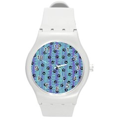 Footprints Cat Black On Batik Pattern Teal Violet Round Plastic Sport Watch (m) by EDDArt