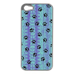 Footprints Cat Black On Batik Pattern Teal Violet Apple Iphone 5 Case (silver) by EDDArt