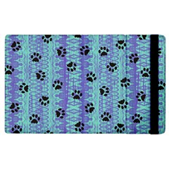 Footprints Cat Black On Batik Pattern Teal Violet Apple Ipad 2 Flip Case