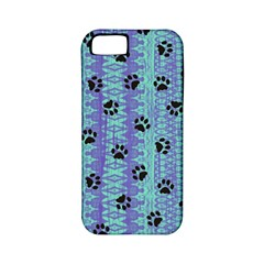 Footprints Cat Black On Batik Pattern Teal Violet Apple Iphone 5 Classic Hardshell Case (pc+silicone) by EDDArt