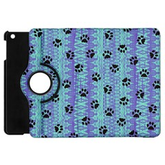 Footprints Cat Black On Batik Pattern Teal Violet Apple Ipad Mini Flip 360 Case by EDDArt