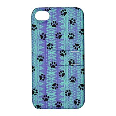 Footprints Cat Black On Batik Pattern Teal Violet Apple Iphone 4/4s Hardshell Case With Stand
