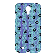 Footprints Cat Black On Batik Pattern Teal Violet Samsung Galaxy S4 I9500/i9505 Hardshell Case by EDDArt