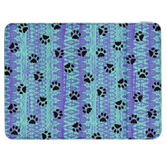 Footprints Cat Black On Batik Pattern Teal Violet Samsung Galaxy Tab 7  P1000 Flip Case