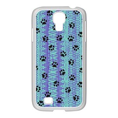 Footprints Cat Black On Batik Pattern Teal Violet Samsung Galaxy S4 I9500/ I9505 Case (white) by EDDArt