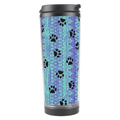 Footprints Cat Black On Batik Pattern Teal Violet Travel Tumbler by EDDArt