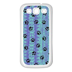 Footprints Cat Black On Batik Pattern Teal Violet Samsung Galaxy S3 Back Case (white) by EDDArt