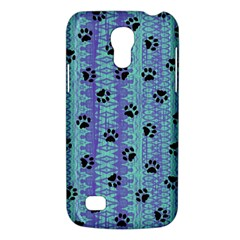 Footprints Cat Black On Batik Pattern Teal Violet Samsung Galaxy S4 Mini (gt I9190) Hardshell Case